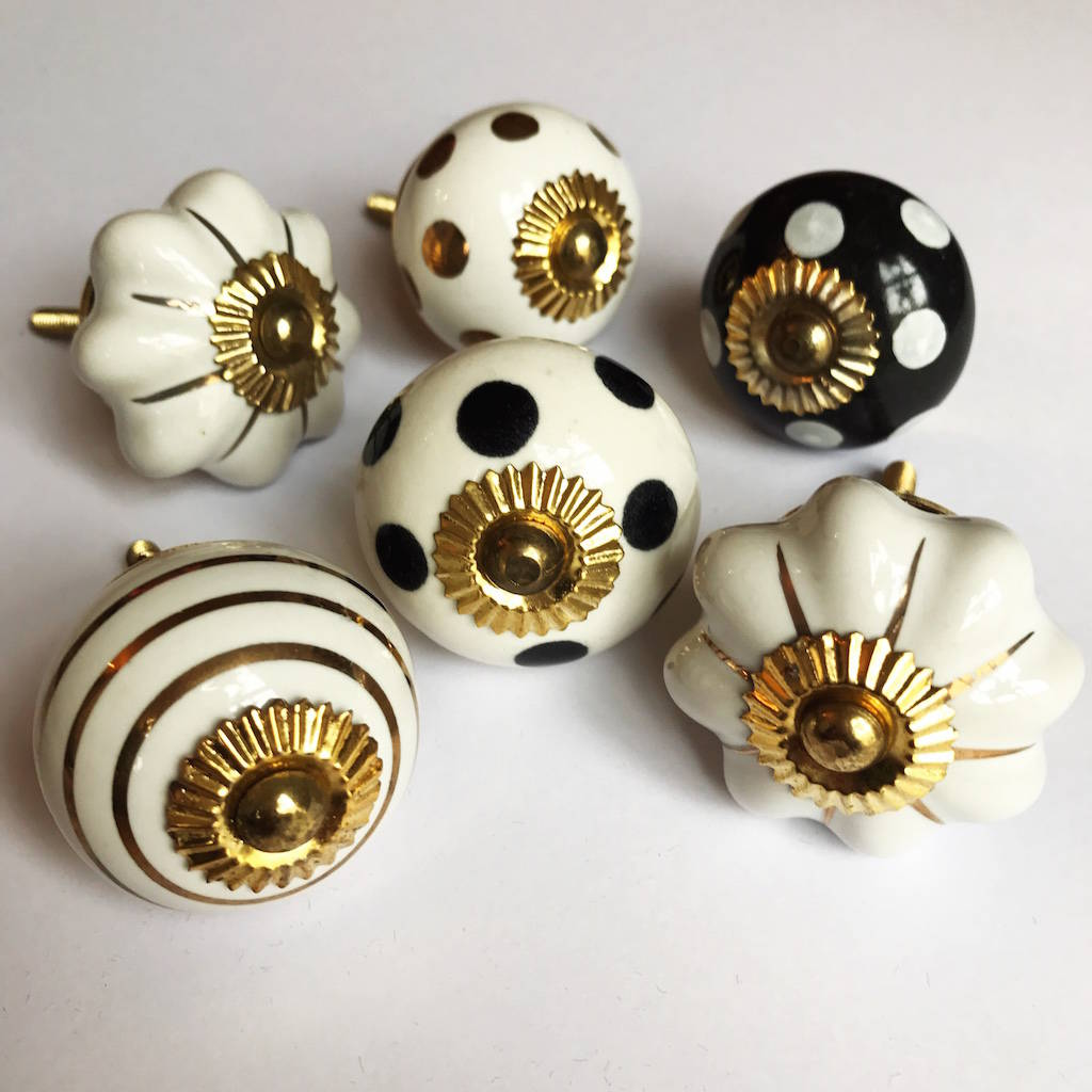 Set Of Assorted Black And Gold Drawer Knobs