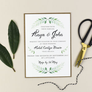 Green Vine Wedding Invitation And RSVP
