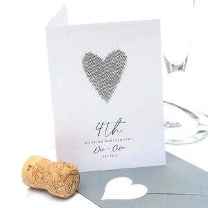 4th Linen Heart Personalised Wedding Anniversary Card