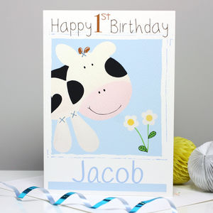 Personalised Farm Cow Age Birthday Card - children's birthday cards