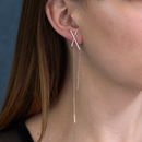 Asymmetric Statement Bar Earrings Rose Gold