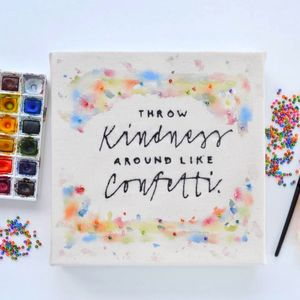 Handmade Kindness Typography Canvas Art - paintings