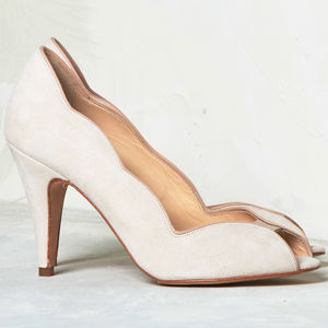Wedding Peep Toe Shoes Arabella Blush Suede - bridal shoes
