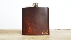 Personalised Initialled Leather Hip Flask - valentine's gifts for him