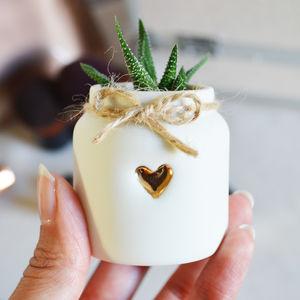 Gold Heart And Twine Mini Porcelain Jar - pots & planters