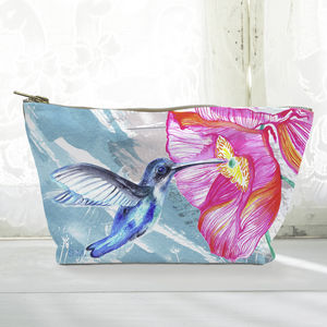 Personalised Pink Flower And Hummingbird Cosmetic Bag - make-up & wash bags