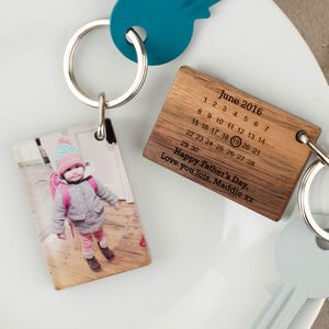 Personalised Photo Wood And Acrylic Calendar Keyring - 50th birthday gifts
