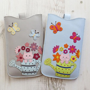 Cat Watering Can Large Leather Phone Case