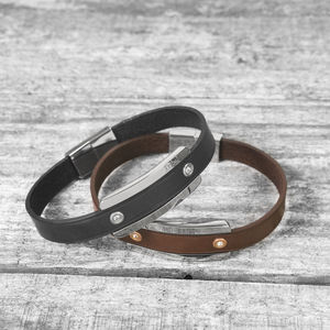 Personalised Secret Message Leather Bracelet - bracelets