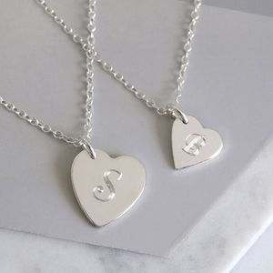 Mum And Me Personalised Heart Necklaces