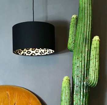 Wild Leopard Lampshade In Jet Black