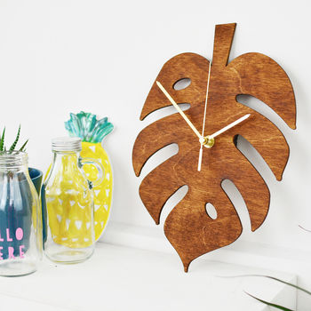 Monstera Leaf Cheese Plant Clock