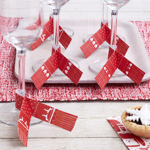 Red And White Christmas Scarf Glass Decorations
