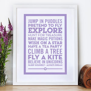 'Believe In Unicorns' Nursery Wall Print