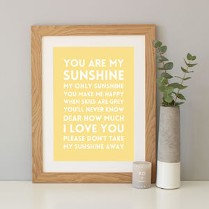'You Are My Sunshine' Song Lyric Print