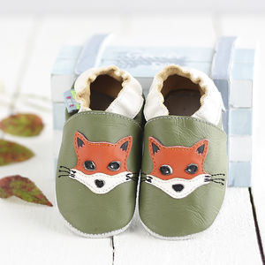 Fox Green Soft Leather Baby Shoes - socks, tights & booties