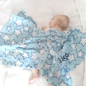 Personalised Blue Star Fleece Blanket - baby care