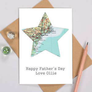 Personalised Fathers Day Map Location Star Card - father's day cards