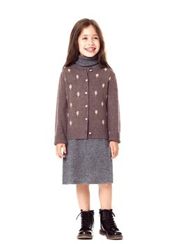Rosebud Embroidered Girls' Cashmere Cardigan