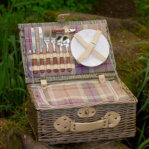 Personalised Lavender Tartan Picnic Hamper For Two