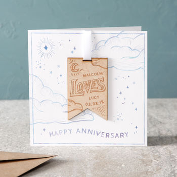 Anniversary Watercolour Clouds Hanging Keepsake Card