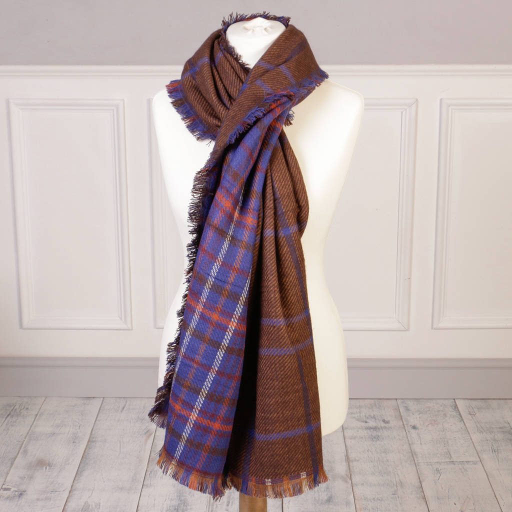 Purple, Blue Brown Plaid Scarf With Free Gift Bag