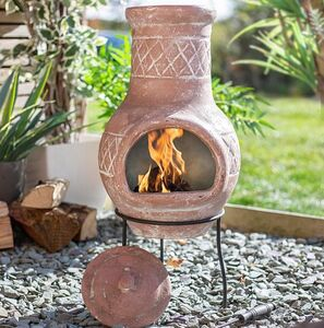 Quality Traditional Clay Chiminea With Stand And Lid