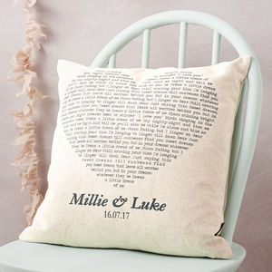Personalised Song Cushion Cover - bedroom