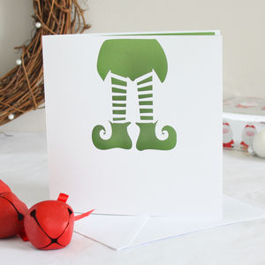 Elf Papercut Christmas Card - funny christmas cards