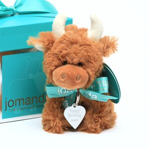 Highland Cow Mini Toy With Personalised Metal Tag