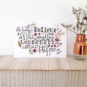 Inspirational And Positive Quote Postcard Or Card - blank cards