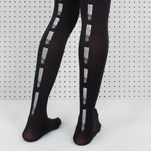 Black Paint Dash Printed Tights - socks & tights