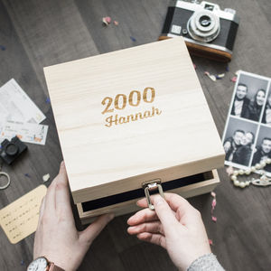 Personalised Name And Year Birthday Wooden Memory Box