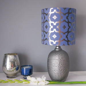 Metallic Lampshade In Blue And Gunmetal