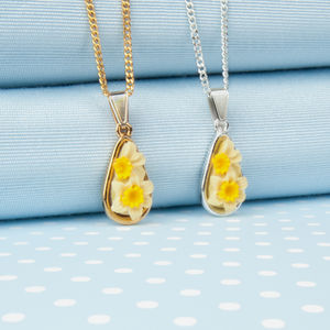 Daffodil Tear Drop Pendant Necklace - necklaces & pendants