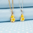 Daffodil Tear Drop Pendant Necklace