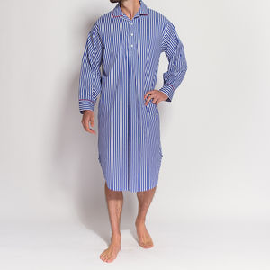 Men's Bold Blue And White Striped Nightshirt - men's fashion