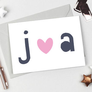 Personalised Love Heart Initials Card - love & romance cards