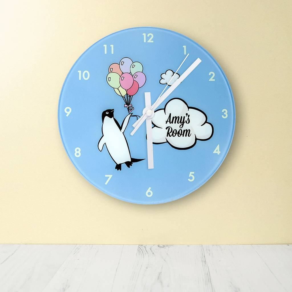Personalised Penguin Nursery Wall Clock