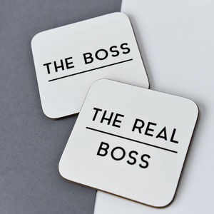 The Boss And The Real Boss Coaster Set - valentine's gifts for him