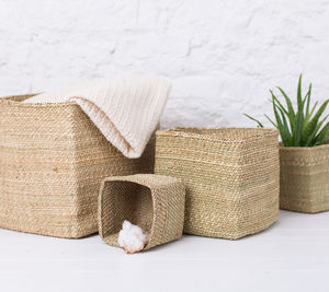 Milulu Grass Square Natural Storage Basket - storage & organisers