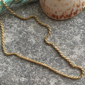 24 Ct Gold Vermeil Rope Chain Necklace