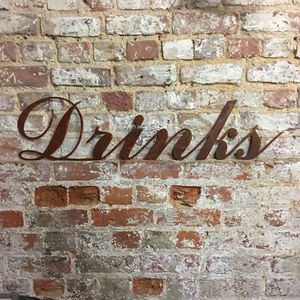 Rusted Metal Drinks Bar Sign - home accessories
