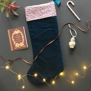 Velvet And Liberty Print Christmas Stocking In Betsy - stockings & sacks