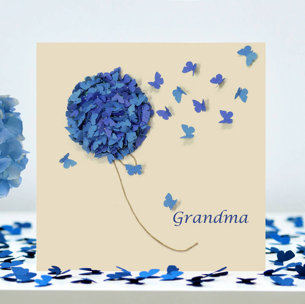 Hydrangea Mothers Day Grandma Card Butterfly