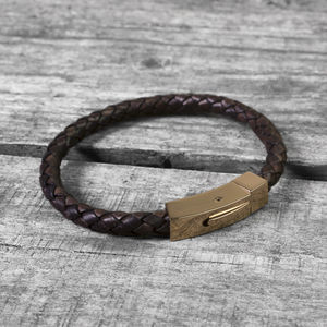 Rose Gold Clasp Hidden Message Leather Bracelet - christmas clothing & accessories