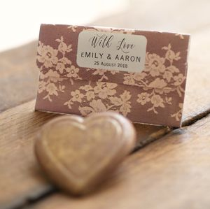 Floral Lace Chocolate Heart Wedding Favours Bags