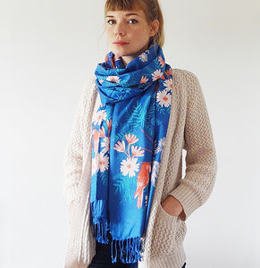 Limited Edition Indian Summer Print Scarf Blue - scarves
