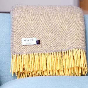 Grey And Yellow Herringbone Throw