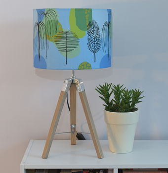 Blue Mid Century Trees Handmade Drum Lampshade